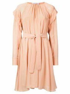 Chloé belted long-sleeve dress - Orange