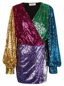 Attico colour-blocked sequin dress - Black