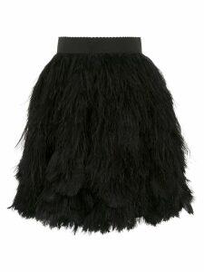 Dolce & Gabbana feather appliqué mini skirt - Black