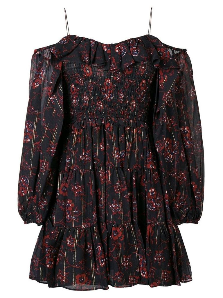 Ulla Johnson short off-shoulder floral dress - Black