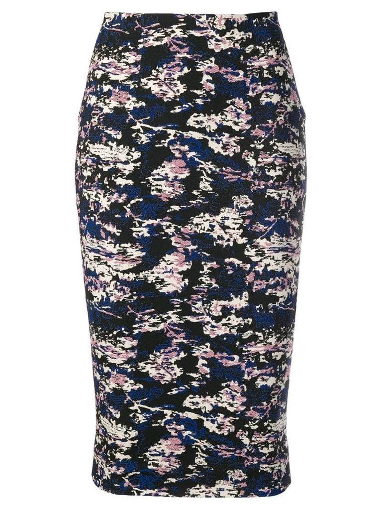 Victoria Beckham camouflage jacquard pencil skirt - Blue