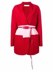 Victoria Beckham colour-block belted coat - Red