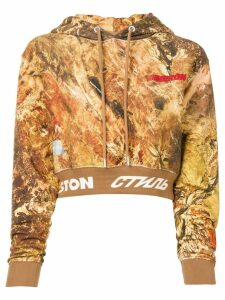 Heron Preston camouflage print cropped hoodie - Brown