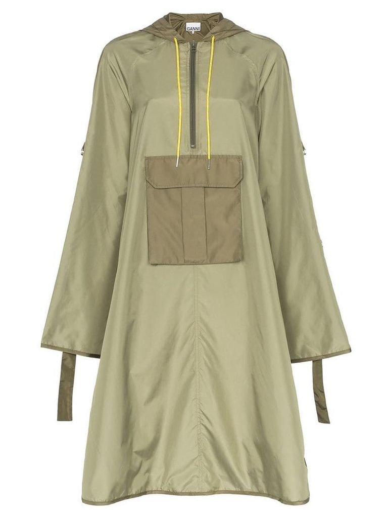 Ganni Aspen hooded anorak coat - Green