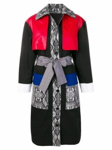 MSGM multi-panel belted coat - Black