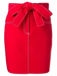 MSGM stitching detail belted skirt - Red