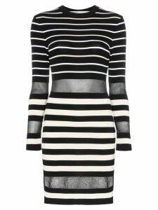 Off-White mesh panel stripe print mini dress - Black