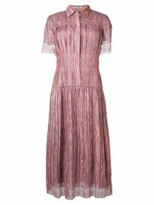 Bottega Veneta lace trim shirt dress - Pink