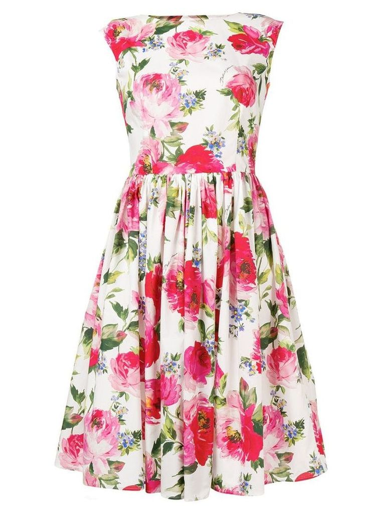 Dolce & Gabbana rose print dress - White