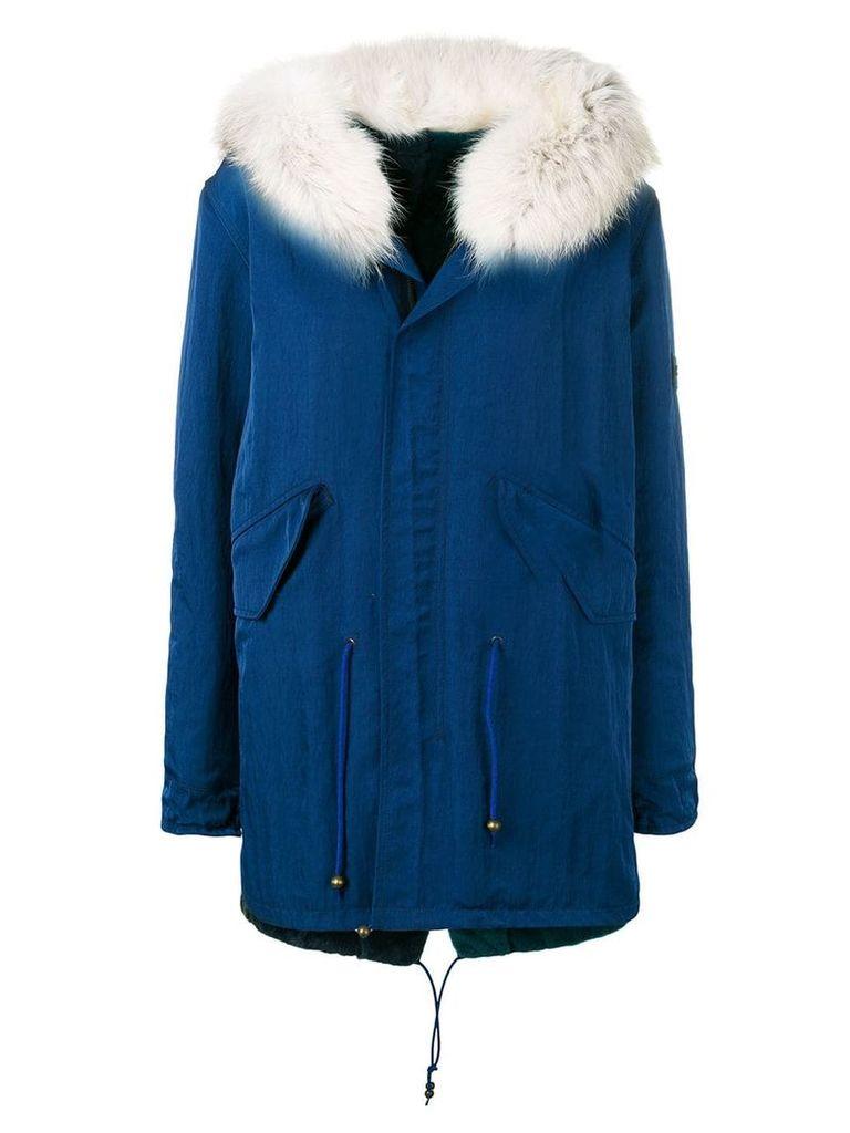 Mr & Mrs Italy fur trimmed hood parka - Blue