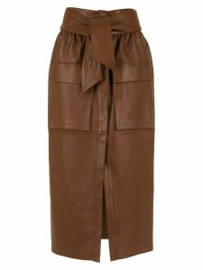 Cruise leather midi skirt - Brown