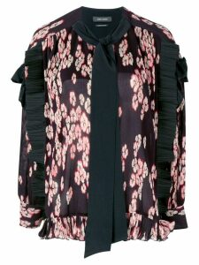 Isabel Marant ribbed ruffle trim blouse - PURPLE