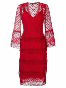 Alberta Ferretti fringed midi dress - Red
