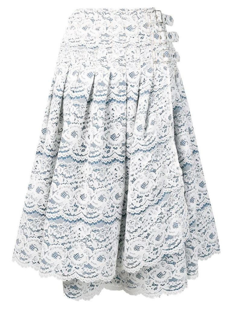 Junya Watanabe side-buckle lace skirt - Blue