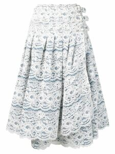 Junya Watanabe side-buckle lace skirt - Blue