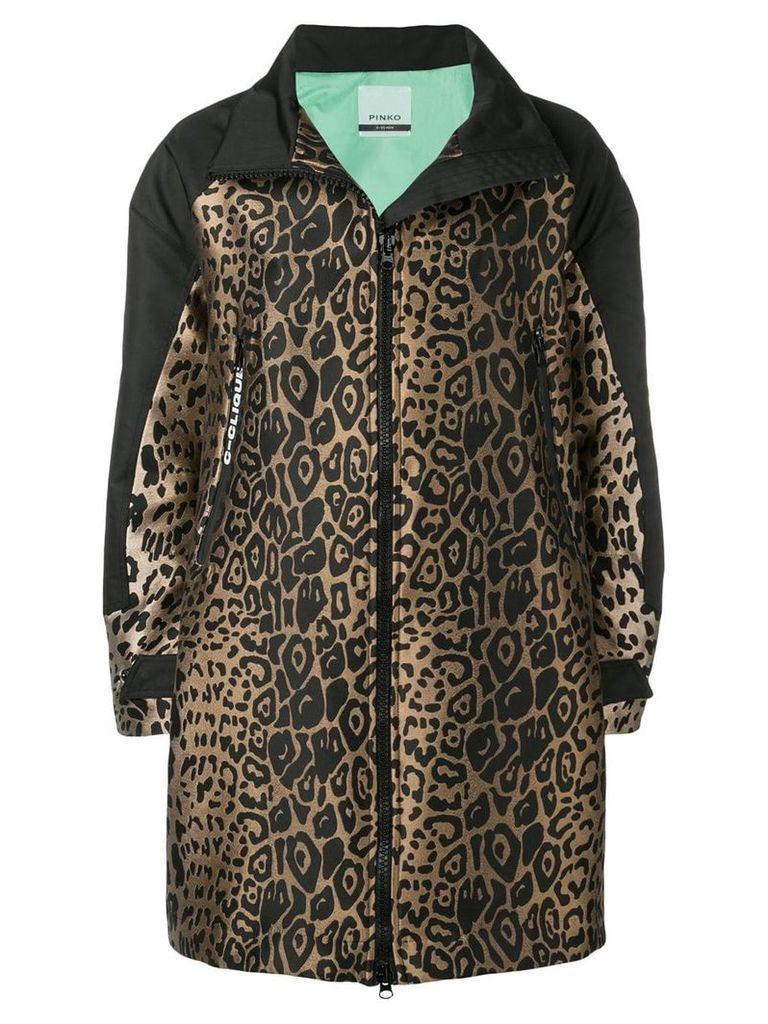 Pinko leopard jacquard zip-up coat - Black
