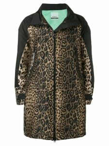 Pinko leopard jacquard zip-up coat - Black