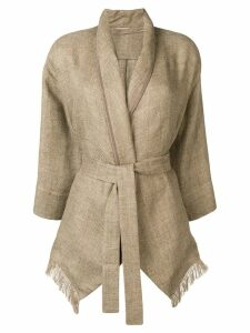 Brunello Cucinelli fitted belted coat - Brown