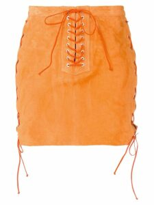 Unravel Project lace-up mini skirt - Orange