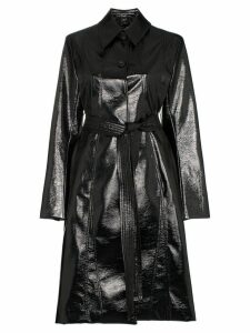 Low Classic Enamel long belted coat - Black