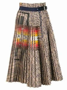 Sacai check pleated skirt - Blue