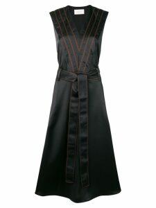 Cédric Charlier striped midi dress - Black