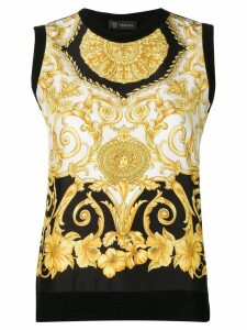 Versace baroque print top - Black