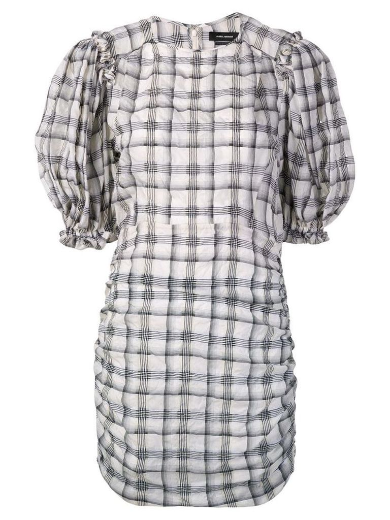 Isabel Marant checked puff sleeve dress - Neutrals