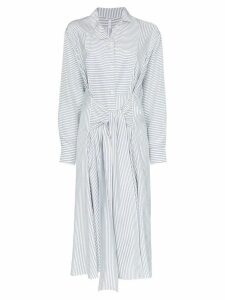 Loewe striped belted silk shirtdress - White