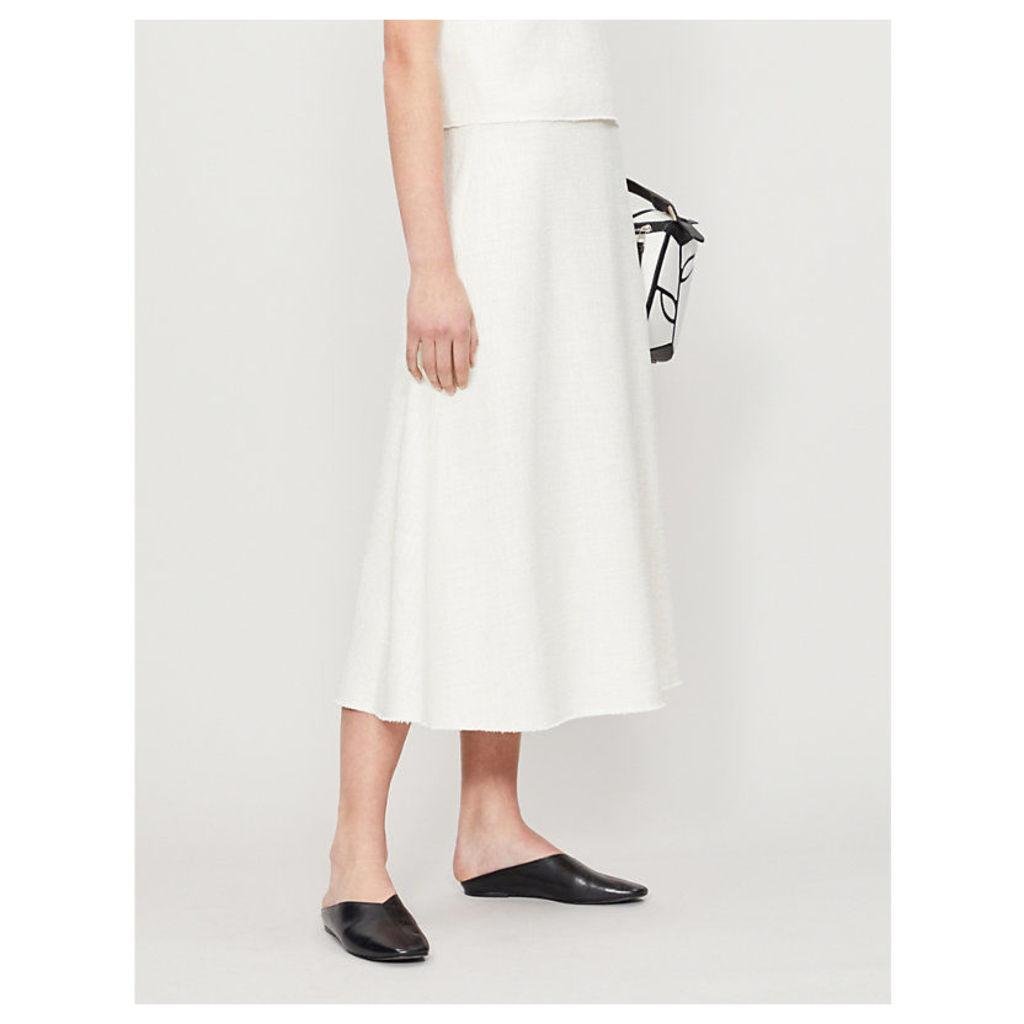 A-line high-rise tweed skirt