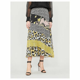 Darcie contrast geometric and floral-print silk-tulle skirt