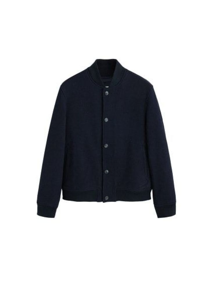 Wool college bomber jacket