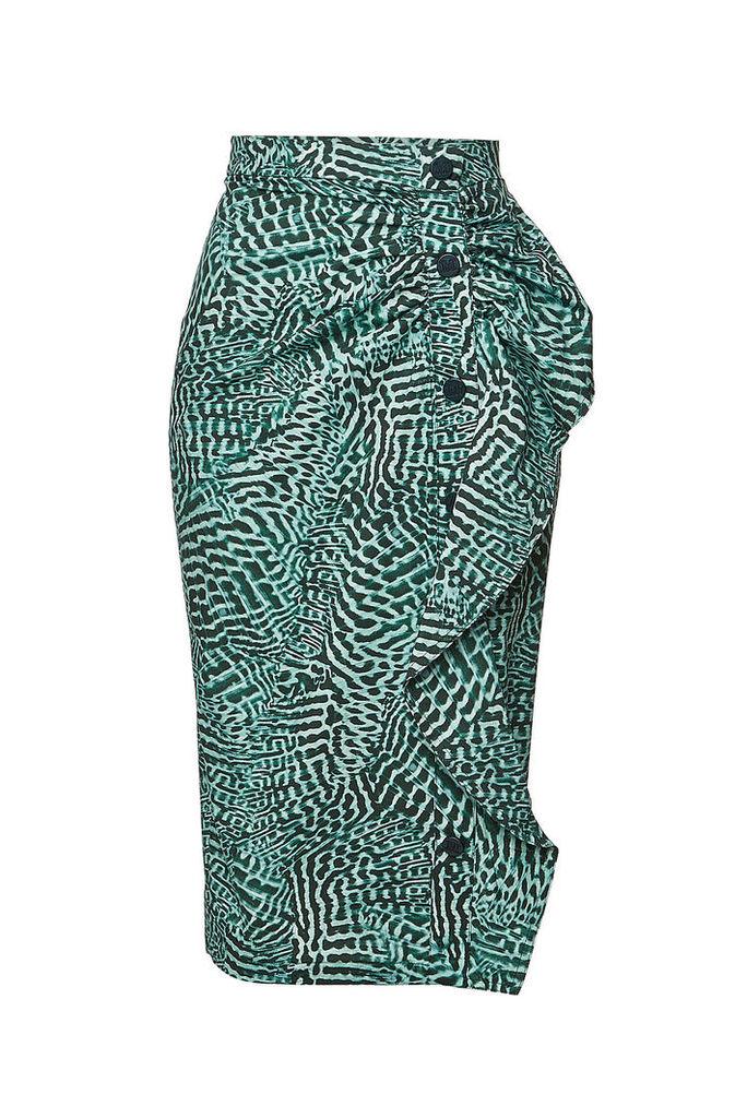 Max Mara Stretch Cotton Musette Printed Pencil Skirt