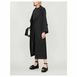 Belted oversized woven coat