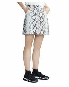 Maje Jupita Snakeskin Print Leather Skirt