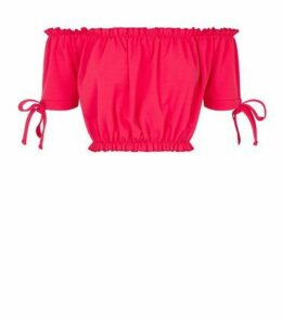 Cameo Rose Bright Pink Frill Bardot Crop Top New Look