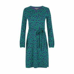 Blue Floral Belted Keyhole Dress