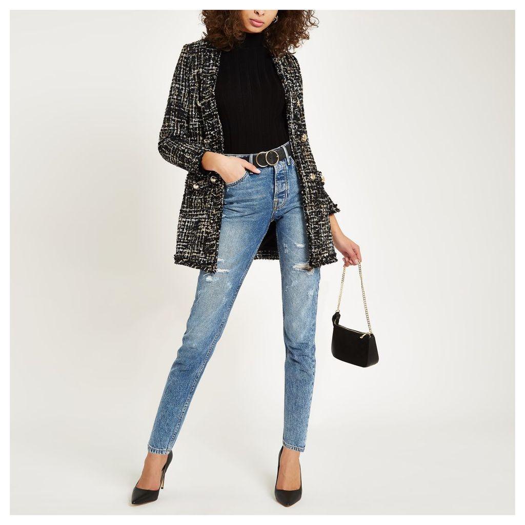 Womens Black boucle longline jacket