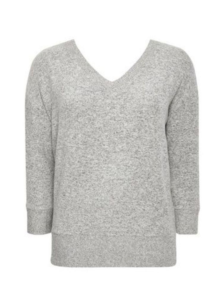 Grey V-Neck Soft Touch Top, Grey