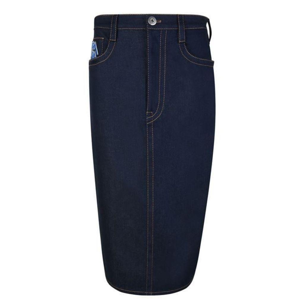 PRADA Raw Denim Pencil Skirt