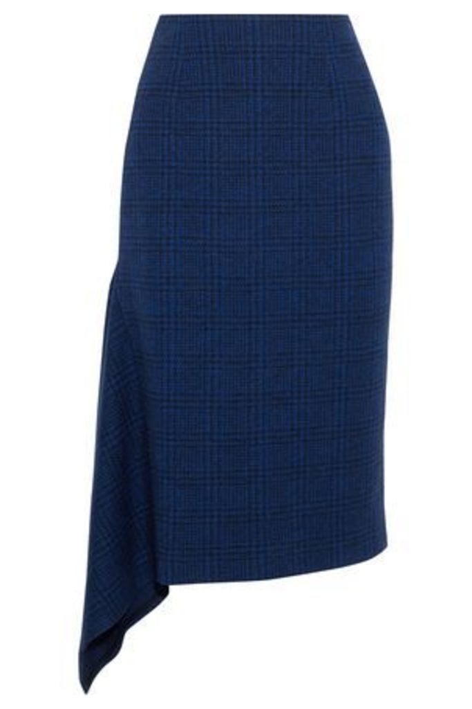 Jason Wu Woman Asymmetric Checked Wool Skirt Navy Size 6