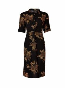 Womens **Black And Yellow Floral Print Knot Front Dress- Black, Black