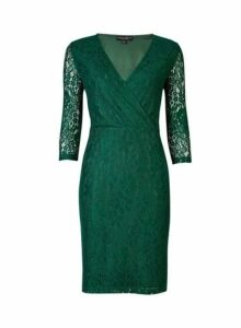 Womens **Green Wrap Lace Bodycon Dress- Green, Green