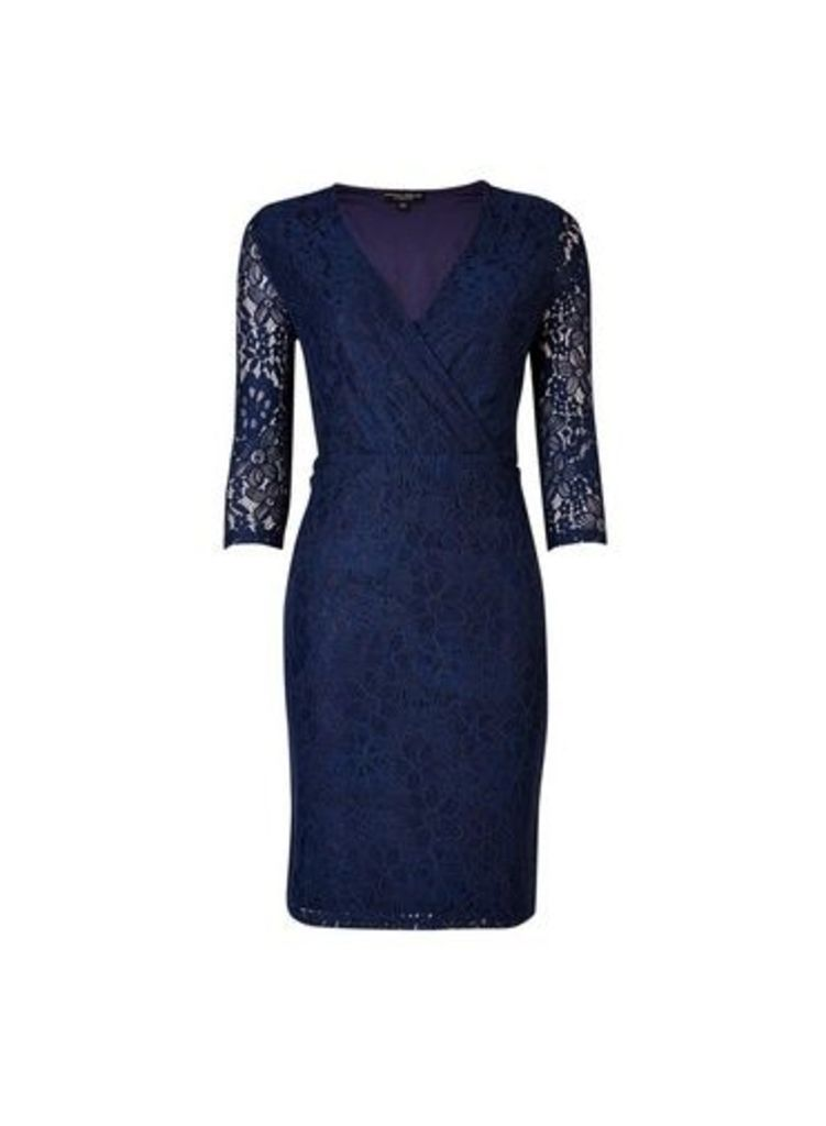 Womens **Navy Wrap Lace Bodycon Dress- Blue, Blue