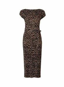 Womens **Leopard Print Plisse Midi Dress- Leopard, Leopard