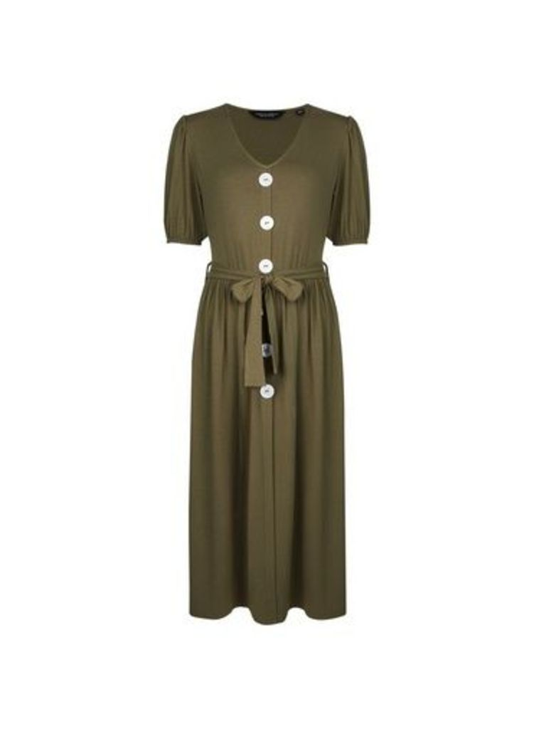 Womens Khaki Mother Of Pearl Button Midi Skater Dress- Khaki, Khaki
