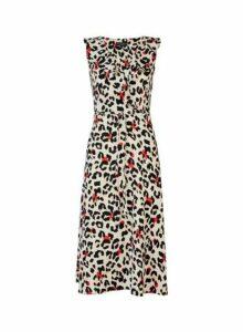 Womens Multi Colour Leopard Print Ruffle Midi Skater Dress- Multi Colour, Multi Colour