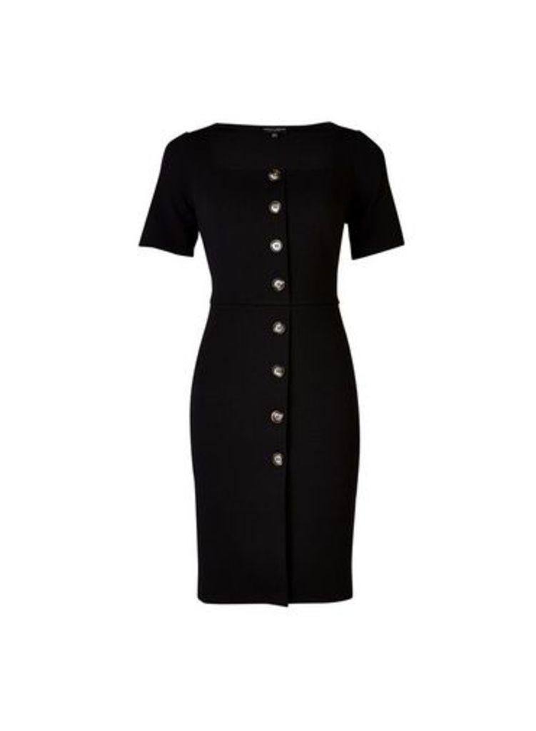 Womens **Black Button Through Bodycon Dress- Black, Black