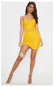Yellow Lace Wrap V Cut Bodycon Dress, Yellow