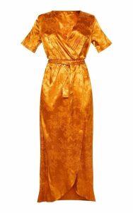 Rust Floral Jacquard Wrap Midi Dress, Orange